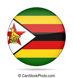 Flag of Zimbabwe. Shiny round button.