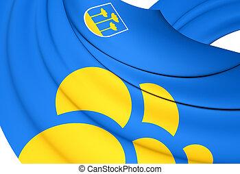 3D Flag of the Zoetermeer, Netherlands. Close Up.
