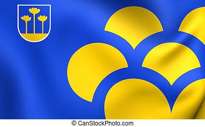 Flag of Zoetermeer, Netherlands. Close Up.