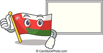 Flag oman Cute character Thumbs up with board