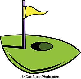 Flag on a golf course icon, icon cartoon