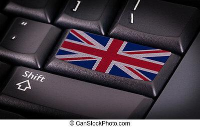 Flag on button keyboard, flag of the United Kingdom
