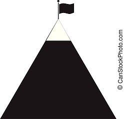 flag on mountain icon on white background. flag on mountain sign. success icon. black mountain with black flag on top. mountain peak with flag icon.