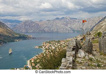 Flag on mountains background