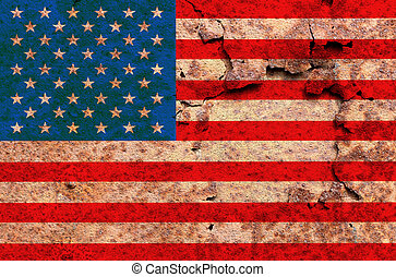 Flag on rusty metal one