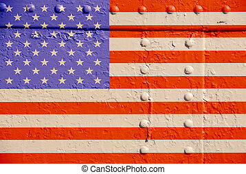 Flag on rusty metal two