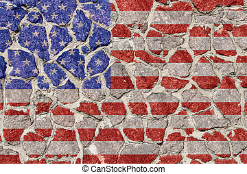 Flag on stones wall