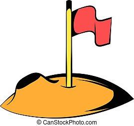 Flag on the moon icon, icon cartoon