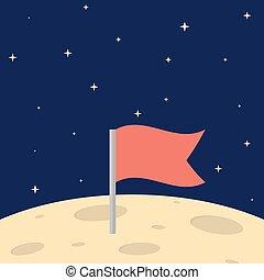 flag on the moon surface. flat illustration.