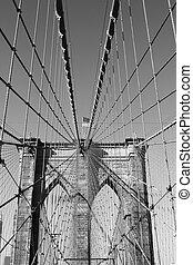 Flag on top of Brooklyn Bridge