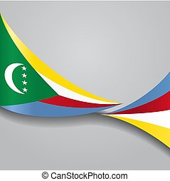 flag., ondulado, vector, comoros, illustration.