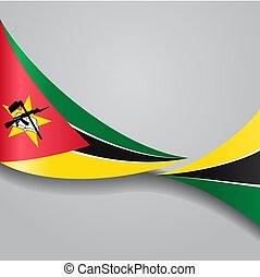 flag., ondulado, vector, mozambique, illustration.