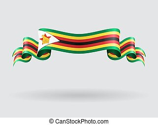flag., ondulato, vettore, illustration., zimbabwe