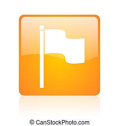 flag orange square web glossy icon