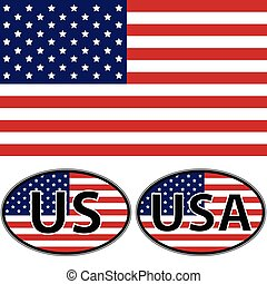 Flag oval stickers USA US, vector for print or website design