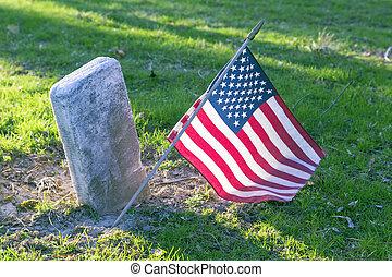 flag, på, grav