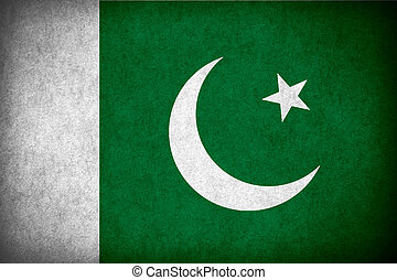 flag of Pakistan or Pakistani banner on paper rough pattern texture