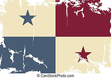 flag., panamá, vector, grunge, ilustración
