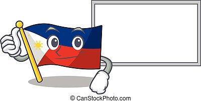 Flag philippines cute cartoon character Thumbs up with board