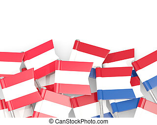 Flag pins of Austria and Netherlands isolated on white. 3D ...