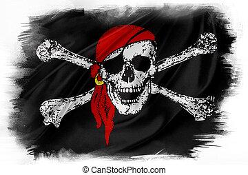 Flag - Pirate flag on plain background