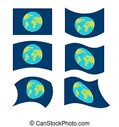 Flag planet earth set. Official national symbol. Traditional paced flag galaxy