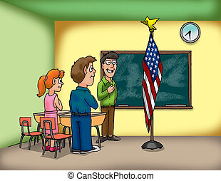 flag pledge - students and teacher saying the pledge of...