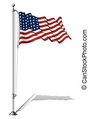 Vector Illustration of a waving 48 star US flag in a clean-cut and an aged version, fasten on a flag pole. This was the flag of the United States during WWI, WWII and the Korean War. Both versions are in-place in separate groups. Flags and pole in separate layers; line art, shading and color neatly ...