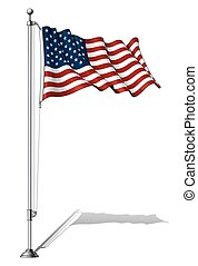 Flag Pole USA - Vector Illustration of a waving US flag...