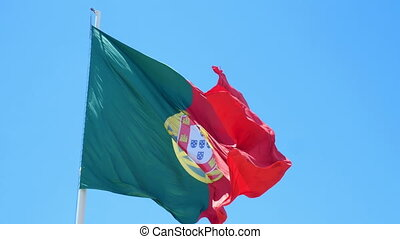 Flag Portugal wind - Isolate flag of Portugal on a flagpole...