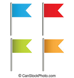 Flag Push Pins Vectors - Creative Abstract Conceptual Design...