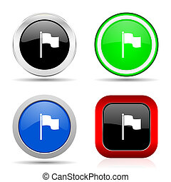 Flag red, blue, green and black web glossy icon set in 4 options