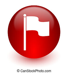 flag red computer icon on white background