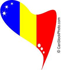 flag romania in heart