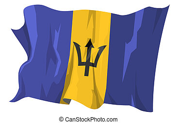 Computer generated illustration of the flag of Barbados