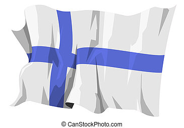Flag series: Finland - Computer generated illustration of...
