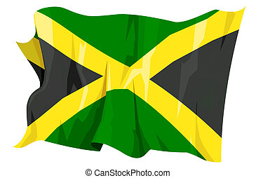 Flag series: Jamaica - Computer generated illustration of...