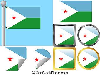 Flag Set Djibouti