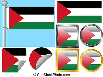 Flag Set Gaza Strip