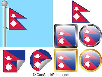 Flag Set Nepal