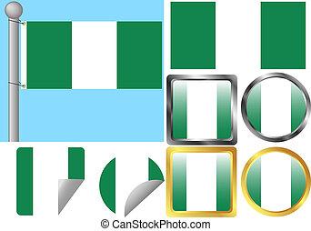 Flag Set Nigeria