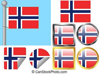 Flag Set Norway