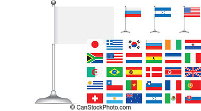 Flag set on white background