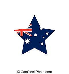 flag shape flag emblem australia icon on white background