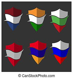 Flag shield stock vector. Armenia, Netherlands, Bulgaria, ...