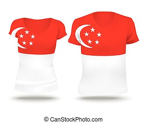 Flag shirt design of Singapore