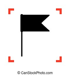 Flag sign illustration. Black icon in focus corners on white bac