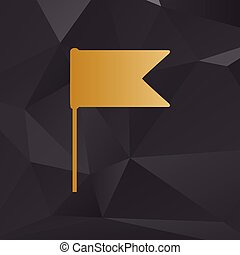 Flag sign illustration. Golden style on background with polygons.