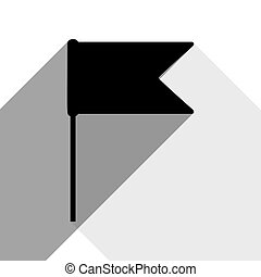 Flag sign illustration. Vector. Black icon with two flat gray shadows on white background.