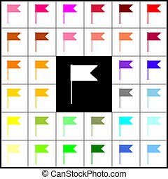 Flag sign illustration. Vector. Felt-pen 33 colorful icons at white and black backgrounds. Colorfull.